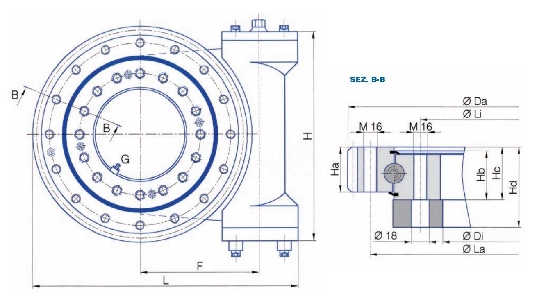 TG-E-OO worm drive slew bearings