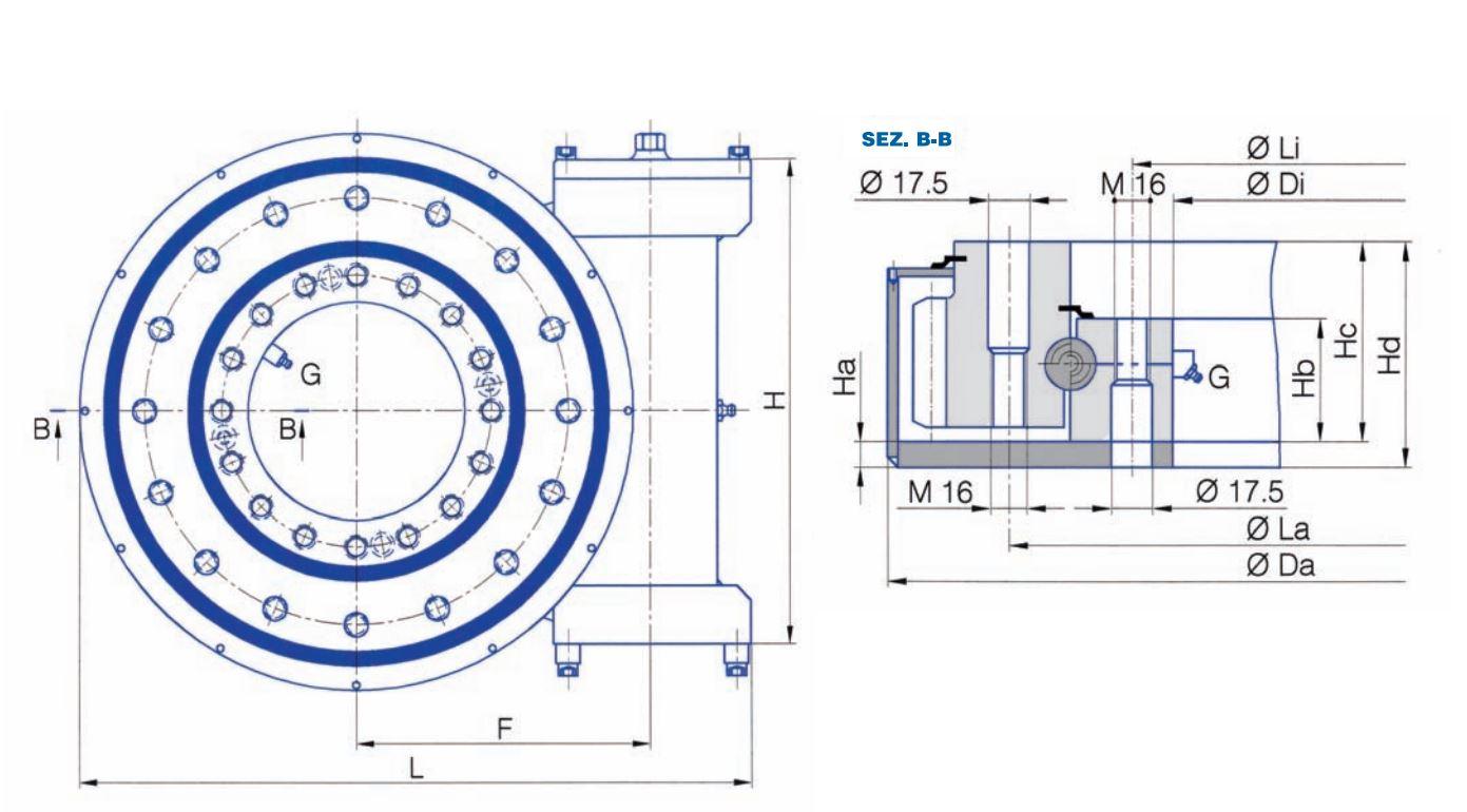 TG-E-OP worm drive slew bearings