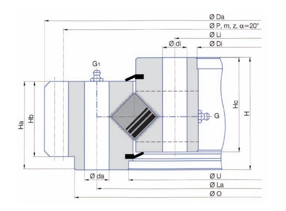 SERIE E.30-45-50.D-R slew bearings
